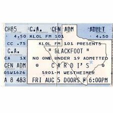 BLACKFOOT Concert Ticket Stub HOUSTON TEXAS 8/5/88 CARDI'S HIGHWAY SONG Rare