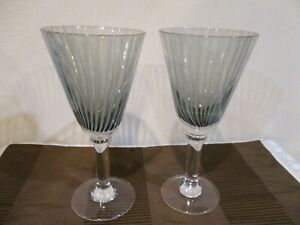 "Pier 1 Black/Grey Striped Swirl Wine/Water/Goblet Glass 8"" Tall/12 oz (2pcs)"