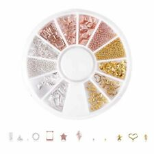 Rose Gold 3D Nail Art Decorations in Wheel Mixed Theme Manicure Nails Tips Diy