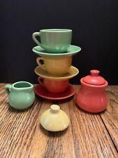 Vintage SCHYLLING Play Tea Set 3 Cups 3 Saucers 1 Creamer Sugar Bowl & Lid