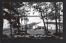 Deer River Minnesota MN 1940s RPPC Cedarwild Lodge Lagoon, Docks, Big Moose Lake