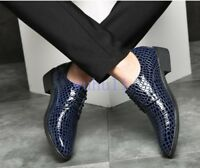Men's New Pointed Toe Snake Skin Leather Dress Formal Lace Up Cuban Oxford Shoes