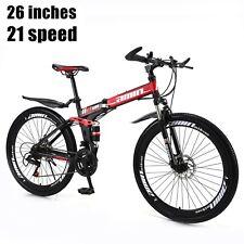 21 Speed Unisex Adult Mountain Bike Full Suspension MTB Folding Bicycle BLK AU
