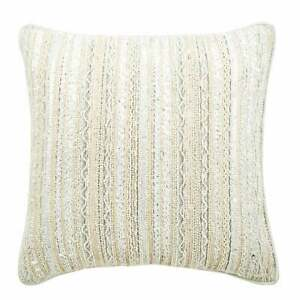 12x12 inch Handmade White Couch Pillowcase, Silk Lace Pearl - All Laced Up
