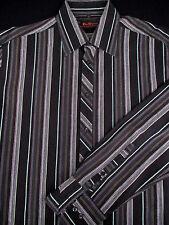Ben Sherman Mens Button Front Long Sleeve Black Stripe Shirt Large L