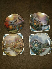 Thomas Kinkade's Simpler Times 1998 Collector Plate Set Of 4 With 3 Certificates