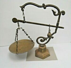Antique MDCV Brass Apothecary Chemist Balance Scales Sliding Weight - BRI UP P9