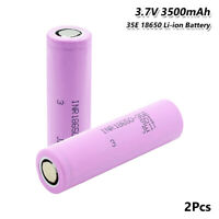 3.7V Max 13A 3500mAh 18650 Battery INR18650-35E Rechargeable Li-ion Cell 2Pcs 7