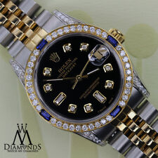 Women's Rolex 31mm Datejust 2 Tone Black Dial with Sapphire & Diamond Watch