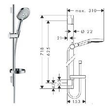 Hansgrohe Raindance Select S 120 Shower Slide Rail Set 65cm with Soap Dish 26632