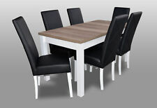 Modern Dining Room Leather Table Chair Set Complete Set 7 Piece Set Chairs