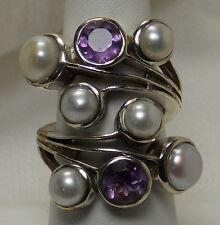 Tucson Gem Show Amethyst Fresh Water Pearl 925 Sterling Silver Ring SZ 7