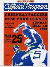 New York Giants Green Bay Packers Program Poster 1939 NFL Vintage NFL Football