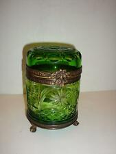Antique Emerald Green Hand Cut Lid Crystal Jewelry Box!