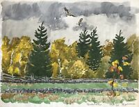Karl Adser 1912-1995 Greifvögel am Himmel Busart Falke Habicht Adler Wald Herbst
