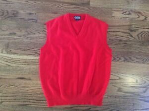 Lands' End Mens Large 100% Lambswool Red Christmas Sweater Vest stretchy England