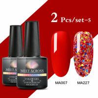 2 Bottles MEET ACROSS UV Gel Polish Nail Art Soak Off Color Varnish Manicure US