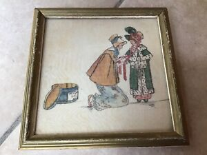 Vintage Painting / Print on Silk After Kate Greenaway Girl c1930 hat Buzza USA