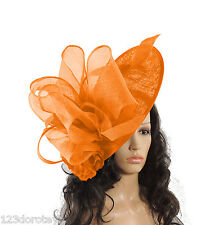 Large Orange Fascinator for Ascot, Weddings, Proms, Derby,Mother of the Bride S1