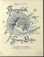 Franz Behr, HERZELEID,  übergroße, alte Noten