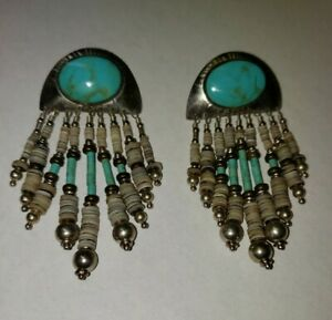 RARE TABRA STERLING SILVER  DANGLING TURQUOISE EARRING