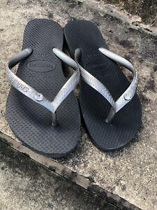 Girls Havaianas Flip Flops With Crystal Stud Euro 33