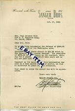 1941 Manager of Accounts R. W. JOHNSTON Dallas Texas SANGER BROS. Letterhead sig