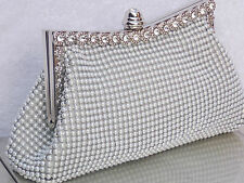 Pearl White Crystal Silver Diamante Wedding Prom Clutch Handbag Purse Bag 139W