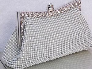 Pearl White Crystal Silver Diamante Wedding Prom Clutch Handbag Purse Bag 139W