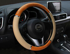 Wood Grain Steering Wheel Cover Beige Syn Leather For Nissan Honda Toyota 38cm