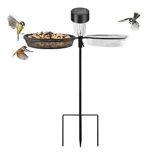 Solar Wild Bird Feeder Pole Water Bath Spa Table Garden Feeding Station New