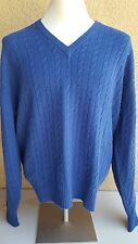 McCULLEY'S Blue Cable Knit Striped Cashmere V Neck L S Sweater 50 Scotland