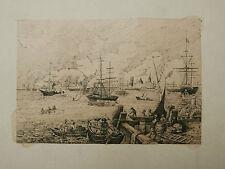 Dessin Encre Le Port Nouvelle Orléans Louisiane Bateaux EMILE BUQUET XIXe 1860