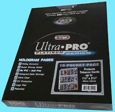 "100 ULTRA PRO PLATINUM 15 POCKET Tobacco Card Pages 1.5x3.25"" Sheets Protectors"