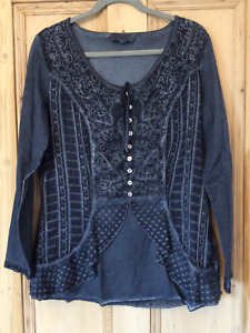 Heine @ Kaleidoscope Size 16 Blue Embroidered Tunic Blouse TOP Casual £55