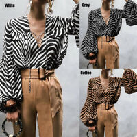 Summer Women Puff Sleeve Tops Blouse Ladies Baggy V Neck Party Work T Shirt 8-26