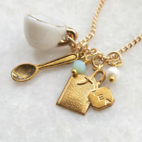 Tea cup Necklace Teacup Alice in Wonderland Jewellery Teabag Charm Gift For Her