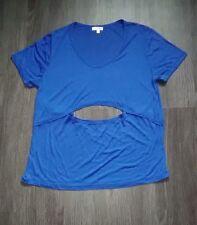 LNA Blue Modal T Shirt/Top/Blouse Sz L Open Cut Out Back & Front/Midriff/Stomach