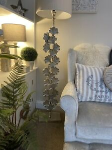 Designer Statement Silver Gingko Leaf Floor Standard Lamp Melody Maison £329