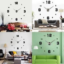 3D XXL Moderne Wanduhr Spiegel Uhr Wohnzimmer Deko Wandtattoo Geschenk Schwarz