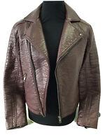 New Look Men's Faux Leather Biker Jacket Burgundy Oxblood Size S