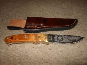 SCHRADE U.S.A. LTD FIXED BLADE KNIFE w/ LEATHER SHEATH - HUNTING HERITAGE COLL.