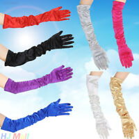 22AC Elbow Satin Gloves Plain Opera Bridal Party Prom Evening Wedding Womens Glo