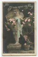 c 1905 Child Children FLOWER BASKET FAIRY faery French photo postcard