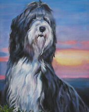 Bearded Collie dog portrait canvas PRINT of LAShepard Painting beardie art 8x10""