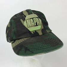 Vtg NAPA Green CAMO Snapback HAT Baseball Cap AUTO Parts CAMOUFLAGE Distressed
