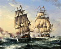 Classical oil painting Warship Giclee Art Printed on canvas L2640