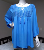 One World blue knit gauze 3/4 sleeves round neck plus size peasant tunic top 1X