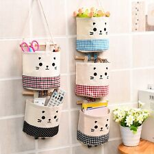 Wall Door Hanging Organizer Container Cotton Cute Cat Closet Storage Bag Pocket