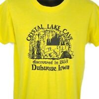 Crystal Lake Cave T Shirt Vintage 80s Dubuque Iowa 50/50 Made In USA Size Medium